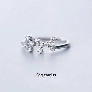 Sterling Silver Zodiac Resizable Ring-Sagittarius